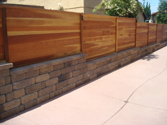 Dry Stack Wall With Horizontal Cedar Wood Fence